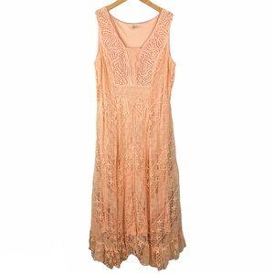 Reba Peach Embroidered Lace Maxi Dress